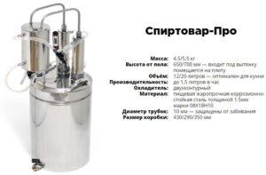 Технические характеристики дистиллятора Спиртовар ПРО