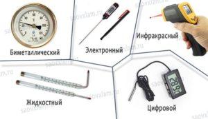 Виды термометров на фото