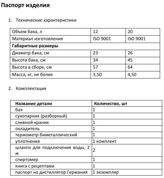 Паспорт изделия с техническими характеристиками и комплектацией